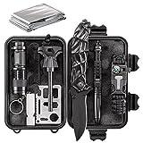 WORSPODAY Emergency Survival Kit - Folding Knife, Paracord Bracelet, Emergency Blanket, Fire Starter, Flashlight, Whistle etc - Camping, Hiking, Hunting Survival Gear (survival kit)