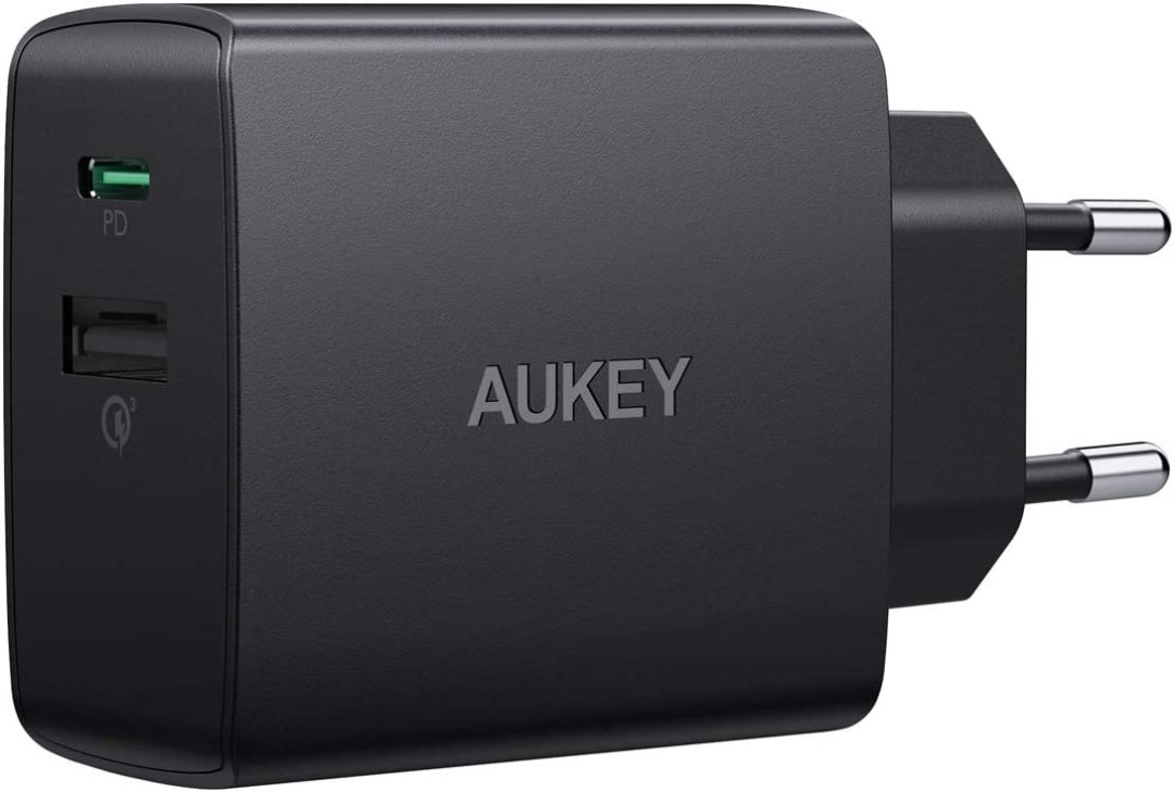 AUKEY USB C Chargeur avec 18W Power Delivery & Quick Charge 3.0, USB Chargeur Mural pour iPhone XS/Max/XR, Google Pixel 3/2 XL, Samsung Galaxy Note9, LG etc