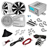 Updated Premium Motorcycle Audio System - 600 Watts Speaker and Amplifier - ATV/Snowmobile Mount 4 Channel - 4 3-Inch Waterproof Speakers, Handlebar Mount Aluminum Die-cast - USB/SD Card, FM Radio