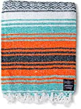 Mexican Blanket Yoga Serape Blankets - Mexican Blankets - Yoga Blanket - Authentic Baja Blanket - Yoga Blankets Mexican - Perfect as Beach Blanket Orange Colorful Camping Blanket (Mandarin)
