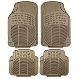 FH Group F11305BEIGE Tan All Weather Floor Mat, 4 Piece (Full Set Trimmable Heavy Duty)