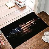 American Flag Decor Entryway Door Rug 20 x 31.5 inch Floor Mat Eagle Shaped USA Flag Doormat Indoor/Outdoor Door Shoe Scraper Rubber Entrance Mat for Home