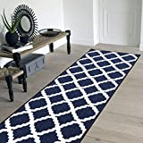 Pyramid Decor Area Rugs, Area Rugs, Runner Bugi Collection Moroccan Trellis Design Blue Area Rugs, Runner, Blue Runner Rug Non Slip Backing Runner Rug for Hallway (20