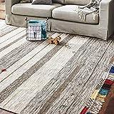 Stone & Beam Contemporary Boho Colorful Fringe Wool Area Rug, 8 x 10 Foot, Tan Multi