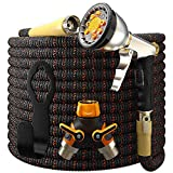 [UPGRADED 2019] Garden Hose Expandable - Superior Strength 3750D | 4-Layers Latex | Extra-Strong Brass Connectors | 10-Way Durable Zinc Water Spray Nozzle, 2-Way Pocket Flexible Splitter (50 Feet)