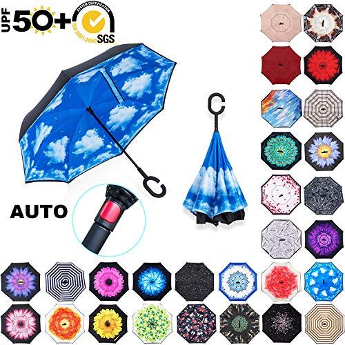 ABCCANOPY Inverted Umbrella,Double Layer Reverse Rain&Wind Teflon Repellent Umbrella for Car and Outdoor Use, Windproof UPF 50+ Big Straight Umbrella with C-Shaped Handle, Blue Sky