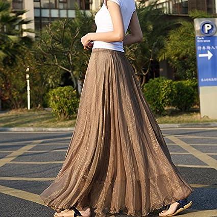 Amazon Com Gloednapple Chiffon Long Dresses Summer Women Long Skirts Bohemian Shinning Casual Beach Dress Coffee Home Kitchen