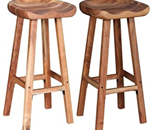 Festnight Wooden Bar Stools Chair For Kitchen Dining Stool Set Of 2 38x37x76 Cm