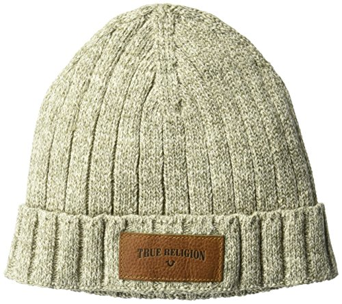 617%2BY1bDGlL True Religion and horseshoe embossed on leather patch sewn down on cuff Ribbed knit watch cap with two inch cuff
