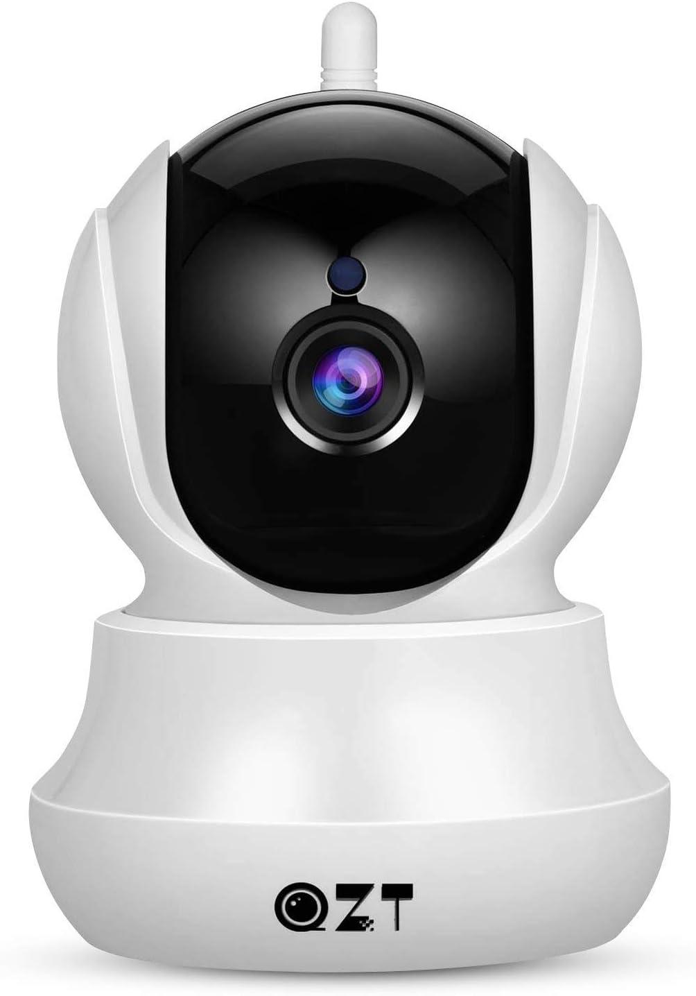 Cámara IP, Cámara de Vigilancia QZT 1080P Wifi con Visión Nocturna, Audio Bidireccional, Giro / Inclinación, Detección de Movimiento, Alarma Email, Cámara de Seguridad