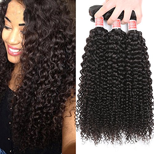 Pizazz Brazilian Curly Hair 3 Bundles 10A Soft Remy Hair Afro Kinky Curly Weave 100% Unprocessed Human Hair Bundles Can be Dye and Bleached(12 14 16)