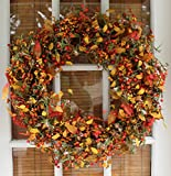 Appalachia Berry Silk Fall Door Wreath 22 inch - Autumn Berries and Foliage Enhance Home Decor, Approved for Covered Outdoor Use, Beautiful White Gift Box Included