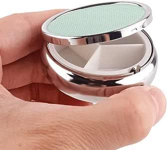 3 Compartment Pill Box Pinstripe-Green-White Luxury Travel