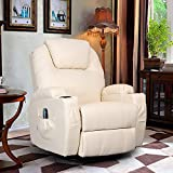 Product review for 360 Degree Swivel Massage Recliner Leather Sofa Chair Ergonomic Lounge Swivel Heated with Control (Cream)