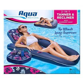 AQUA-Campania-Ultimate-2-in-1-Recliner-Tanner-Pool-Lounger-with-Adjustable-Backrest-and-Caddy-Inflatable-Pool-Float-Navy-Hibiscus
