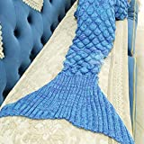 WHYING Large Mermaid Tail Blanket for Adult, Oversized Sleeping Blanket Super Warm Soft All Season Sleep Blanket Fashion Fish Scale Sleeping Bag 71 x 35inch (blue)