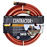 Swan Products SNCG34100 CONTRACTOR+ Commercial Duty Clay Water Hose with Crush Proof Couplings 100' x 3/4', Red