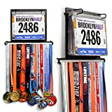 Gone For a Run BibFOLIO Plus Race Bib and Medal Display | Wall Mounted Medal Hanger - Displays up to 24 medals and 100 race bibs