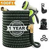 VIENECI 100ft Garden Hose Upgraded Expandable Hose, Durable Flexible Water Hose, 9 Function Spray Hose Nozzle, 3/4' Solid Brass Connectors, Extra Strength Fabric, Lightweight Expanding Hose