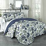 Traditions by Waverly 15219BEDDKNGPOR Maldives 104-Inch by 90-Inch 3-Piece King Quilt Collection, Porcelain