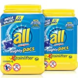 all Mighty Pacs Laundry Detergent, Stainlifter, 72 Count, 2 Tubs, 144 Total Loads