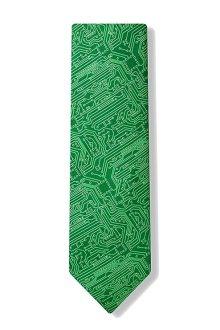 Men's Microfiber Green Computer Science Circuit Board Geek Necktie Neck Tie Neckwear