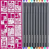 Fineliner 10 Colored pens and 4x7 inch Stencils, Plastic Planner Bullet Journal School Supplies Notebook Diary Scrapbook 12 Pieces DIY Drawing Template