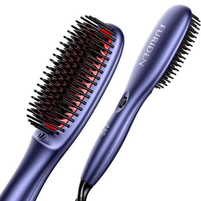 FURIDEN Hair Straightening Brushes Ceramic, Hair Straighteners Brush for Thick Hair, Hair Straightening Brushes for Short Hair