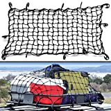 22'x38' Super Duty Bungee Cargo Net Stretches to 44'x76' | Small 2'x2' Mesh Holds Small and Large Loads Tighter | 12 Adjustable Hooks | For Rooftop Cargo Carrier, ATV, UTV, Cargo Hitch