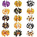 CN 3 Inch Colorful Halloween Pumpkin Grosgrain Ribbon Pinwheel Boutique Smurfs Hair Bows With Clip For Baby Girls Kids Teens Toddlers Chirldren - Best for Halloween -15 Pieces Mix