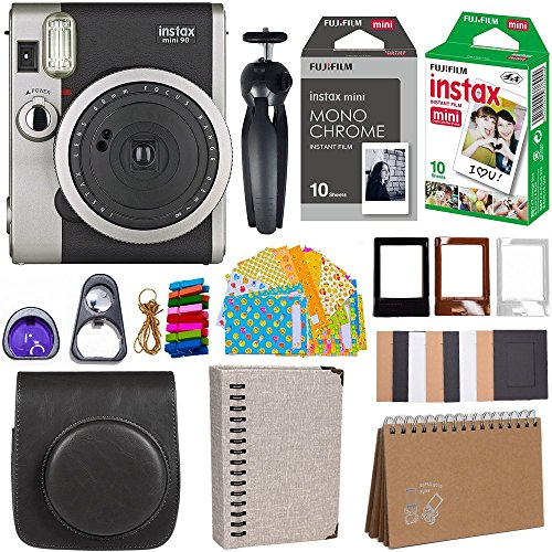 Fujifilm Instax Mini 90 Instant Camera + Fuji Instax Film (20 Sheets) + Giant Accessories Bundle(12 piece)
