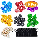 PAXCOO 7 x 7 (49 Pieces) Polyhedral Dice with Pouches for Dungeons and Dragons DND RPG MTG D20 D12 D10 D8 D4