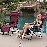Belleze 2PC Zero Gravity Chair Lounge Seat UV Resistant Cup Phone Holder Tray Beach Pool Backyard, Burgundy