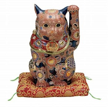 Jpanese traditional ceramic Kutani ware. Lucky charm ornament. Beckoning cat. Mori. With paper box. ktn-K5-1602