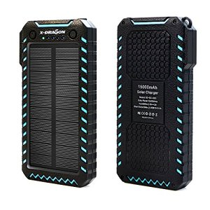 X-DRAGON Solar Charger 15000mAh Power Bank Portable Dustproof Shockproof Dual USB Solar Panel Battery Charger with Dual Super Bright LED Light for iPhone, Samsung Galaxy and More