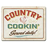 Highland Graphics 'Country Cookin Served Daily' Vintage Style Cutting Board with Rooster Image