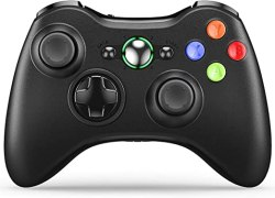Wireless Controller for Xbox 360, VOYEE Enhanced Controller with Upgraded Joystick for Microsoft Xbox 360/ Slim/PC Windows 10 8 7 (Black)