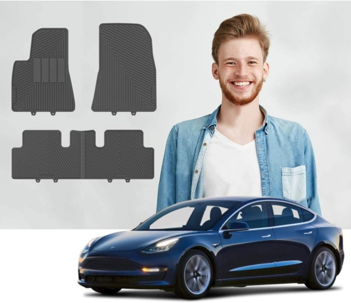 Amazon Com Road Comforts Tesla Model 3 Custom Fit Floor Mats 2017 2018 2019 2020 2021 Protect Floor From Dirt Mud Snow Slush Water Front And Second Row 4pcs Black Automotive