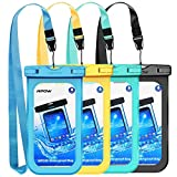 Mpow Waterproof Phone Pouch, IPX8 Universal Waterproof Case Underwater Dry Bag 4-Pack Compatible for iPhone XS Max/XS/XR/X/8, Galaxy S9/S9P/S8/Note 9/8, Google/HTC up to 6.5' (Blue Yellow Green Black)