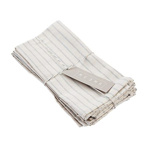 Cotton Cloth Napkins Set   Eco Friendly Upcycled Cotton and Denim Rustic Linens   Natural Striped, Set of 4   For Everyday Use and Special Occasions