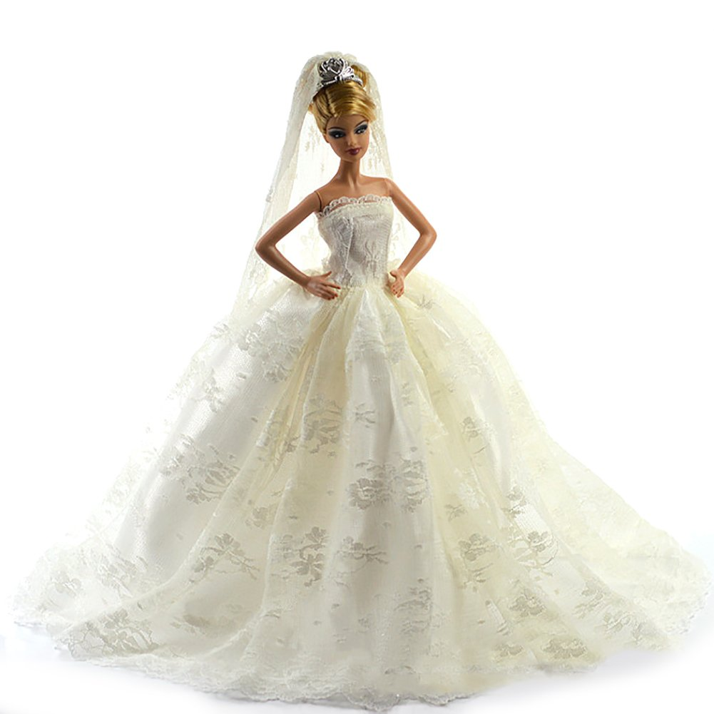 Barbie Wedding Gown with White Lace Details Complete with Veil