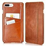 KAVAJ iPhone 8 Plus iPhone 7 Plus Case Leather Dallas Cognac-Brown Slim-Fit Genuine Leather iPhone 8 Plus Wallet Case Leather Flip Case Folio Business Card Holder Cover Book Case Apple iPhone8 Plus