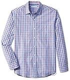 Amazon Essentials Men's Regular-Fit Long-Sleeve Plaid Casual Poplin Shirt, Red/Blue Plaid, X-Large