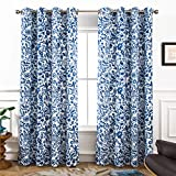 DriftAway Julia Watercolor Blackout/Room Darkening Grommet Lined Thermal Insulated Energy Saving Window Curtains, 2 Layer, Set of Two Panels, Each 52'X84' (Navy)