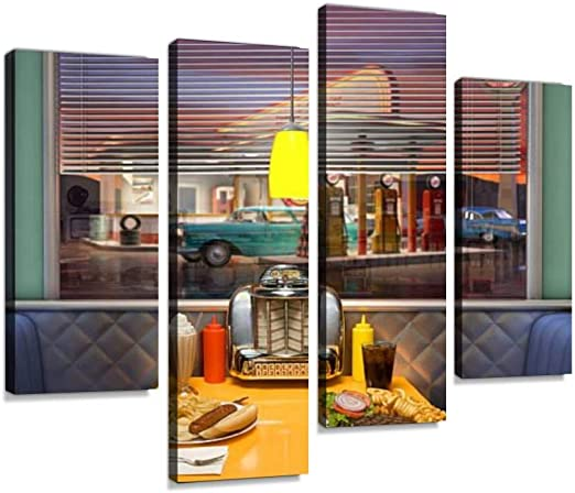 Amazon Com Retro Diner Interior Canvas Wall Art Painting Pictures Modern Artwork Framed Posters For Living Room Ready To Hang Home Decor 4panel Posters Prints