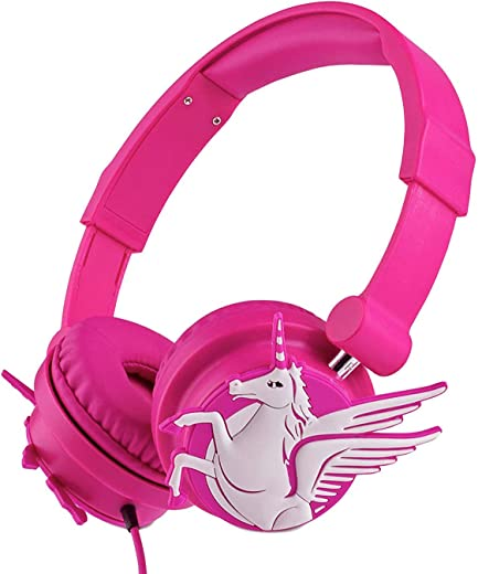 Moear Children Retractable Unicorn Headphones 3.5mm Wired Cartoon Kids Earphones for MP3 Players PC Music Sharing Function On Ear Headsets