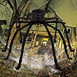 Bridegtown Outdoor Halloween Decorations Huge 4.5 Ft. Black Hairy Spider with 40 Square Ft.Stretchable Spider Cobweb/Tarantula with Red Eyes Best for Halloween Party Yard Haunt Decor