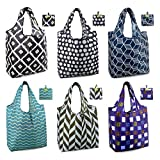 Shopping Bags Reusable Grocery Foldable Totes 6 Pack XLarge 50LBS Ripstop Cute Geometric Fashion Bags with Pouch Bulk Waterproof Machine Washable Eco-Friendly Nylon Black Gray Purple Navy Teal Brown
