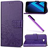 Samsung Galaxy A7 2017 Case A7 2017 Cover EMAXELER Embossing Stylish Wallet Cover Kickstand Credit Cards Slot Cash Pockets PU Leather Flip Wallet For Samsung A7 2017 Clover Purple
