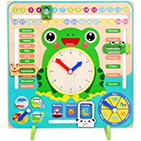 Bogget Rana in Legno per Bambini Multi-Funzione Educazione precoce Puzzle Calendario Sveglia Giocattolo Bambini Giocattoli multifunzionali Educazione della Prima Infanzia